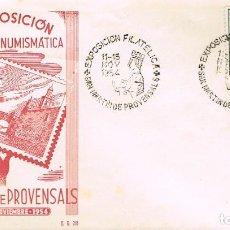 Sellos: AÑO 1954, VIRGEN DE MONTSERRAT, EXPOSICION DE SAN MARTIN PROVENSALS, SOBRE DE GOMIS. Lote 128039059