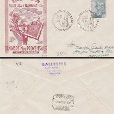 Sellos: AÑO 1954, VIRGEN DE MONTSERRAT, EXPOSICION DE SAN MARTIN PROVENSALS, SOBRE DE GOMIS CIRCULADO . Lote 128039251