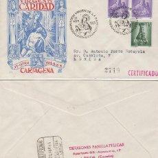 Sellos: AÑO 1955, CORONACION DE LA VIRGEN DE LA CARIDAD EN CARTAGENA, SU PATRONA. SOBRE PANFILATE CIRCULADO . Lote 128040511