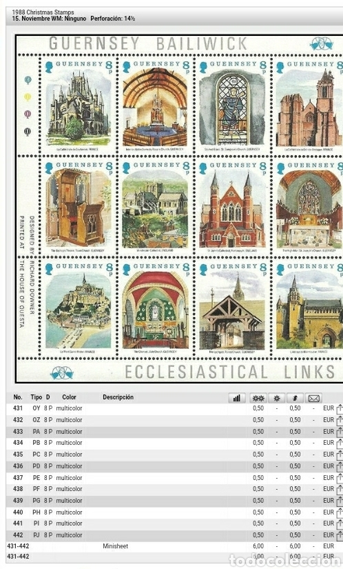 Sellos: MP(12v)/Sellos de Guernsey nuevos. 1988. Catedral. Arquitectura. Abadia. Monasterio. Altar. Trono. I - Foto 2 - 129392796
