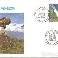 Sellos: RUANDA & FDC VISITA DE SU SANTIDAD EL PAPA JUAN PABLO II, KIGALI 1990 (6789) . Lote 134837550
