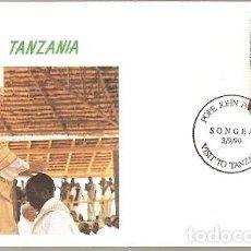 Sellos: TANZANIA Y FDC VISITA DE SU SANTIDAD EL PAPA JUAN PABLO II, SONGEA 1990 (5788). Lote 134837670