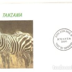 Sellos: TANZANIA Y FDC VISITA DE SU SANTIDAD EL PAPA JUAN PABLO II, SONGEA 1990 (5789). Lote 134837798