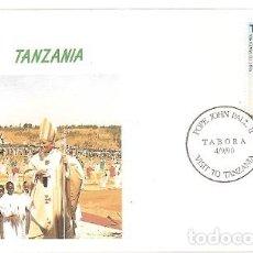 Sellos: TANZANIA Y FDC VISITA DE SU SANTIDAD EL PAPA JUAN PABLO II, TABORA 1990 (5791). Lote 134837942