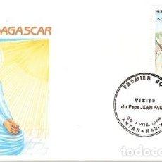 Sellos: MADAGASCAR & FDC VISITA DE SU SANTIDAD EL PAPA JUAN PABLO II, FIANARANTSOA 1989 (5588). Lote 134841474