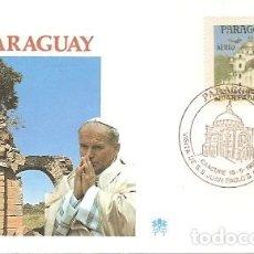 Sellos: PARAGUAY & FDC VISITA DE SUA SANTIDADE O PAPA JOÃO PAULO II, CAACUPE 1988 (9888). Lote 134841974