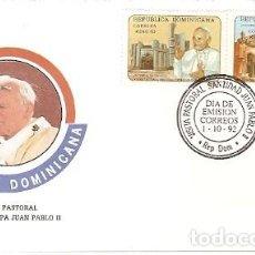 Sellos: REPUBLICA DOMINICANA & FDC VISITA DE SU SANTIDAD EL PAPA JUAN PABLO II 1992 (9888). Lote 134842758
