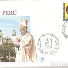 Sellos: PERU & FDC VISITA DE SUA SANTIDADE O PAPA JOÃO PAULO II, LIMA 1988 (9388). Lote 134843218