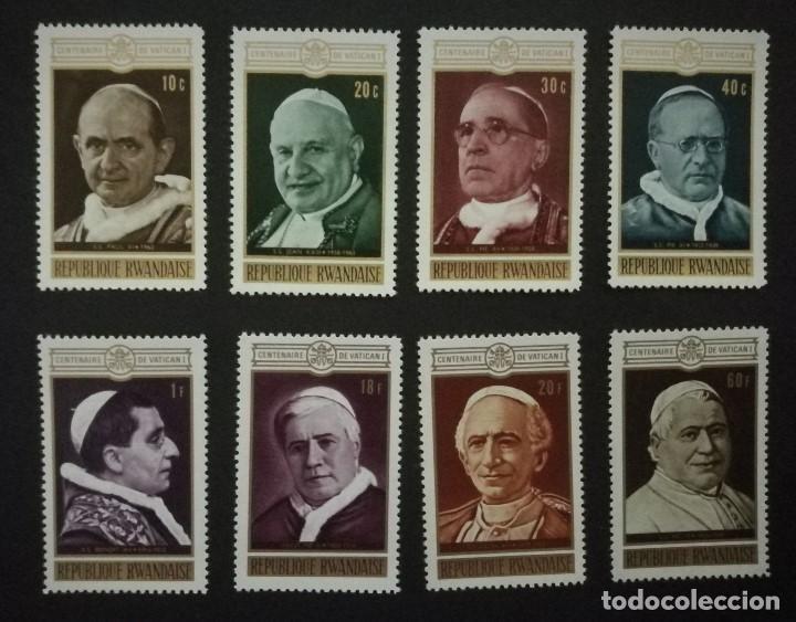 SELLOS REPUBLICA DE RUANDA 1970 Y&T 400/7** CENTENARIO DEL CONCILIO VATICANO I PAPAS (Sellos - Temáticas - Religión)