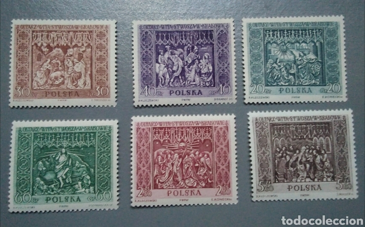 SELLOS POLSKA POLONIA 1044/ 49 ESCULTURAS IGLESIA SANTA MARIA CRACOVIA AÑO 1960 SERIE COMPLETA NUEVA (Sellos - Temáticas - Religión)