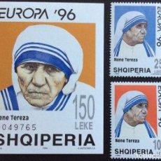 Sellos: ALBANIA Nº YVERT 2357/8 + HB 83***.AÑO 1996. EUROPA. MADRE TERESA DE CALCUTA. Lote 147780906