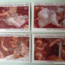 Sellos: ANTIGUA&BARBUDA. 723/26 NAVIDAD: PINTURAS DE RAPHAEL CON SIBILAS Y ÁNGELES. 1983. SELLOS NUEVOS Y NU. Lote 147802372