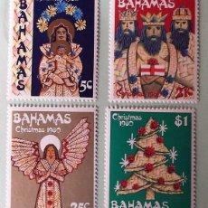 Sellos: BAHAMAS. 468/71 NAVIDAD. PERSONAJES Y ABETO EN PAJA TRENZADA. LA VIRGEN Y EL NIÑO, REYES MAGOS, ÁNGE. Lote 147802536