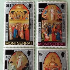 Sellos: MONTSERRAT. 334/37 PASCUA: CUADROS: LA TRINIDAD, LA RESURRECCIÓN, ASCENSIÓN Y PENTECOSTÉS. 1976. SEL. Lote 147802560