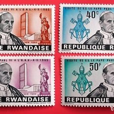 Francobolli: RWANDA. 144/47 VISITA DEL PAPA PAULO VI. 1966. SELLOS NUEVOS Y NUMERACIÓN YVERT.. Lote 150714018