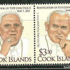 Sellos: ISLAS COOK 2011 SC 1401/02 *** BEATIFICACIÓN DEL PAPA JUAN PABLO II - RELIGION. Lote 150990362