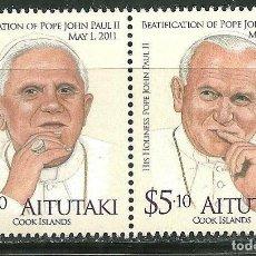 Sellos: AITUTAKI 2011 SC 580/81 *** BEATIFICACIÓN DEL PAPA JUAN PABLO II - RELIGION. Lote 150990578