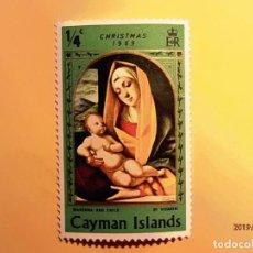 Sellos: ISLAS CAYMAN - CHRISTMAS 1969 - MADONNA CON NIÑO.. Lote 151004626