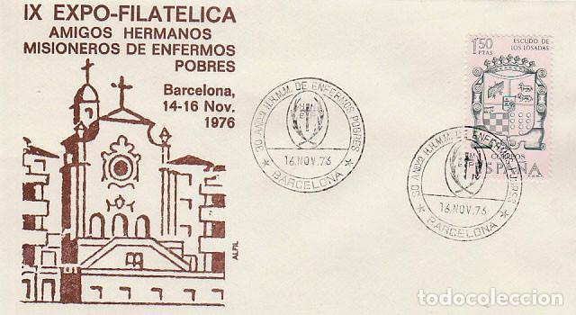 AÑO 1976, BARCELONA, AMIGO DE LOS HERMANOS MISIONEROS DE ENFERMOS POBRES, SOBRE DE ALFIL (Sellos - Temáticas - Religión)