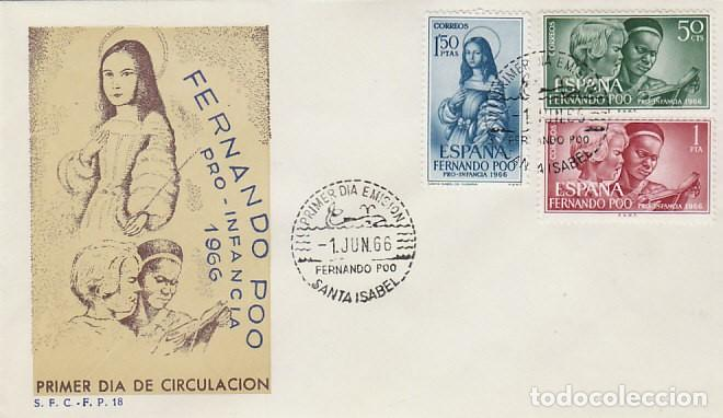FERNANDO POO EDIFIL Nº 248/50, SANTA ISABEL DE HUNGRIA, PRIMER DIA DE 1-6-1966 (Sellos - Temáticas - Religión)