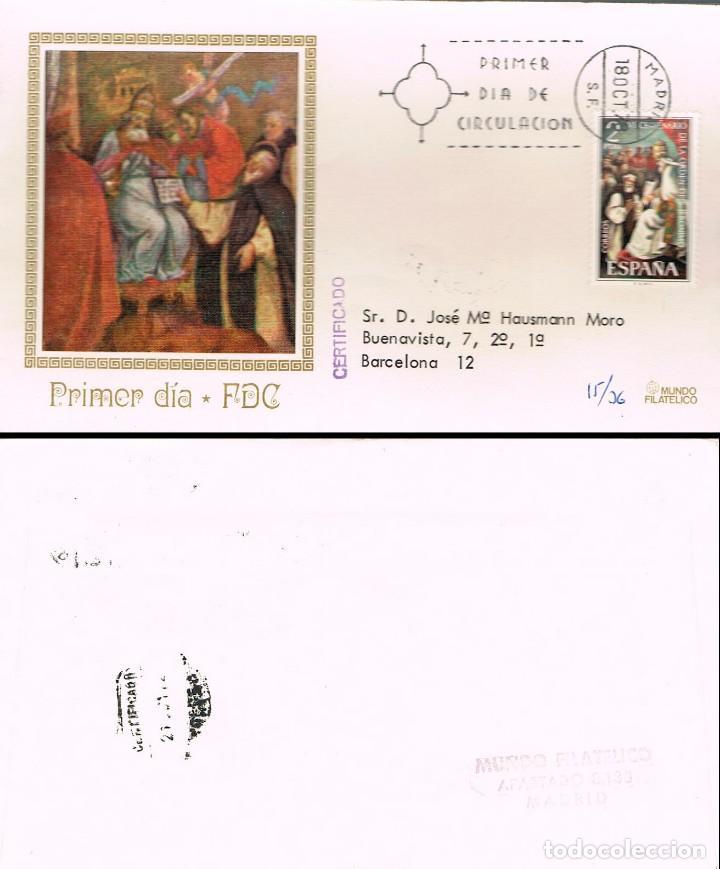 EDIFIL 2158, VI CENTº DE LA ORDEN DE SAN JERONIMO, PRIMER DIA 18-10-1973 MUNDO FILATELICO CIRCULADO (Sellos - Temáticas - Religión)