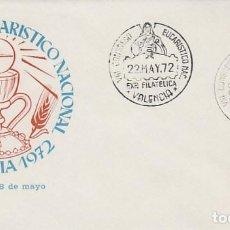 Timbres: AÑO 1972, VALENCIA, CONGRESO EUCARISTICO NACIONAL, SOBRE OFICIAL CON SELLO DEL SANTO GRIAL. Lote 162292766