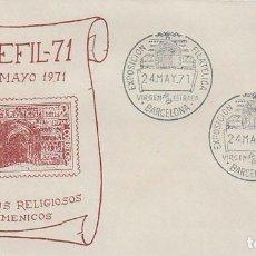 Sellos: AÑO 1971, MONASTERIO DE POBLET, EXPOSICION VIRGEN DE LA ESTRADA, SOBRE OFICIAL. Lote 163742486
