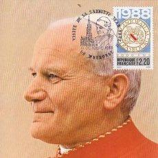 Sellos: FRANCIA, VISITA DEL PAPA JUAN PABLO II A THEHONSE, TARJETA MÁXIMA 11-10-1988. Lote 163890430