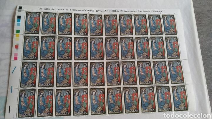 PLIEGO DE 40 SELLOS DE 5 PTS DE ANDORRA. NAVIDAD 1978 (Sellos - Temáticas - Religión)