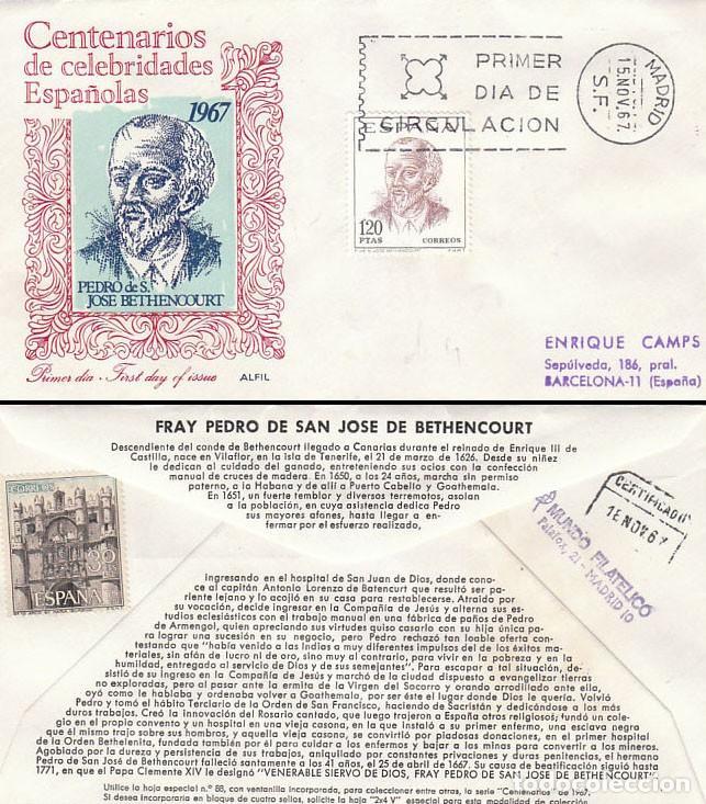 EDIFIL 1830, HERMANO PEDRO O SAN PEDRO DE VILAFLOR, PRIMER DIA 15-11-1967, SOBRE DE ALFIL CIRCULADO (Sellos - Temáticas - Religión)