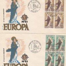 Sellos: EDIFIL 1519/20, EUROPA 1963, VIRGEN DE EUROPA, PRIMER DIA 16-9-1963 2 SOBRES DE GOMIS EN BLOQUE DE 4. Lote 171122520