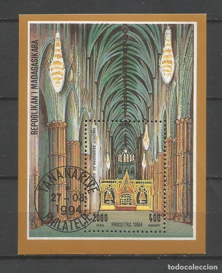 SELLOS MADAGASCAR AÑO 1994. ABADÍA DE WESTMISTER. HOJA BLOQUE USADA (Sellos - Temáticas - Religión)
