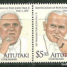 Sellos: AITUTAKI 2011 SC 580/81 *** BEATIFICACIÓN DEL PAPA JUAN PABLO II - RELIGION. Lote 173663485