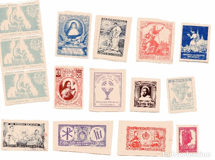 M116 LOTE 14 VIÑETAS RELIGIOSAS-STA TERESA,MERCE,JUANA LESTONNAC,SANTIAGO,CONGRESOS 1920'S/30'S/40'S (Sellos - Temáticas - Religión)