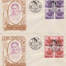 Sellos: EDIFIL 1296/7, 3º CENTENARIO DE SAN VICENTE DE PAUL, PRIMER DIA 24-7-1961 EN ALFIL CON BLOQUE DE 4. Lote 178878805