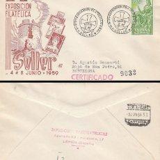 Sellos: AÑO 1959, SOLLER (MALLORCA), SIMBOLOS DEL CRISTIANISMO, SOBRE DE PANFILATELICAS CIRCULADO. Lote 178879236