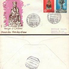 Sellos: ANDORRA EDIFIL 89/90, EUROPA 1974, VIRGEN DE ORDINO Y CRUZ DE 7 BRAZOS, PRIMER DIA 29-4-1974 ALFIL C. Lote 178879717