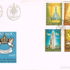 Sellos: PORTUGAL IVERT Nº 1010/3, 50 ANIVERSARIO DE LAS APARICIONES DE FATIMA, PRIMER DIA DE 13-5-1967. Lote 180230538