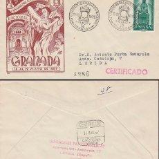 Selos: AÑO 1957, CONGRESO EUCARISTICO NACIONAL EN GRANADA, SOBRE OFICIAL DE PANFILATELICAS CIRCULADO. Lote 182887955
