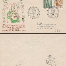 Sellos: AÑO 1956, SINDICATO DEL SEGURO, VIRGEN DEL PERPETUO SOCORRO, SOBRE DE ALFIL CIRCULADO. Lote 182889846