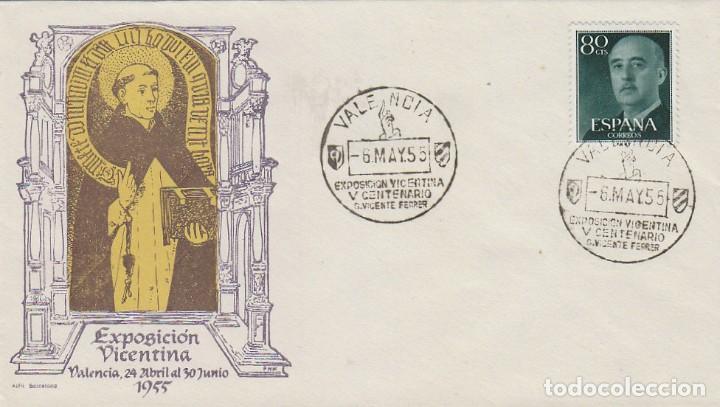 AÑO 1955, V CENTENARIO DE SAN VICENTE FERRER, MATASELLO VALENCIA, SOBRE DE ALFIL (Sellos - Temáticas - Religión)