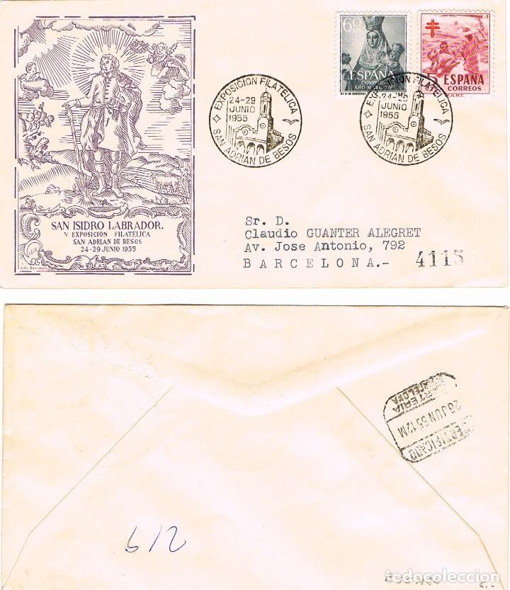 AÑO 1955, PARROQUIA SAN JUAN BAUTISTA DE SAN ADRIAN DE BESOS, ALFIL CIRCULADO (Sellos - Temáticas - Religión)