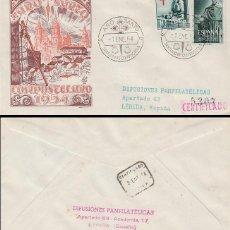 Sellos: AÑO 1954, AÑO SANTO, MATASELLO DE SANTIAGO DE COMPOSTELA 1-1-1954 SOBRE DE PANFILATELICAS CIRCULADO. Lote 184111056
