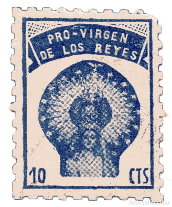 S26C VIÑETA PRO-VIRGEN DE LOS REYES – SEVILLA (Sellos - Temáticas - Religión)