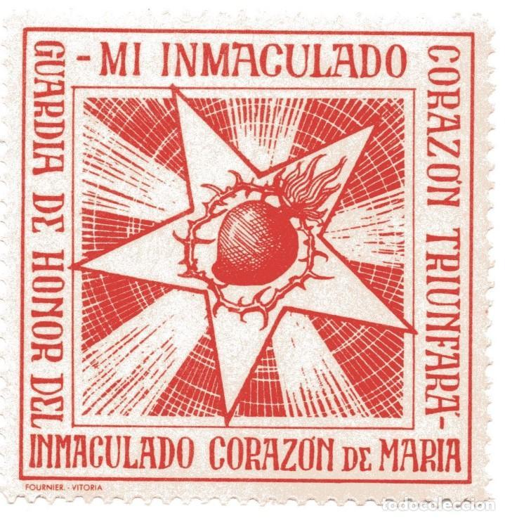 S26D VIÑETA GUARDIA DE HONOR DEL INMACULADO CORAZON DE MARIA (Sellos - Temáticas - Religión)