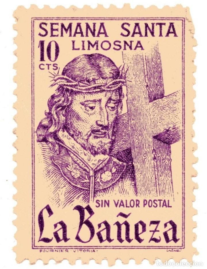 S27B VIÑETA SEMANA SANTA LA BAÑEZA (LEÓN) - 10 CTS – BY FOURNIER VITORIA (Sellos - Temáticas - Religión)