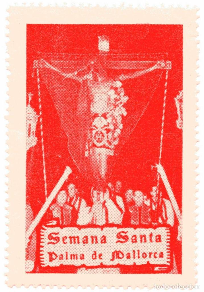 S27D VIÑETA SEMANA SANTA MALLORCA ROJO (Sellos - Temáticas - Religión)