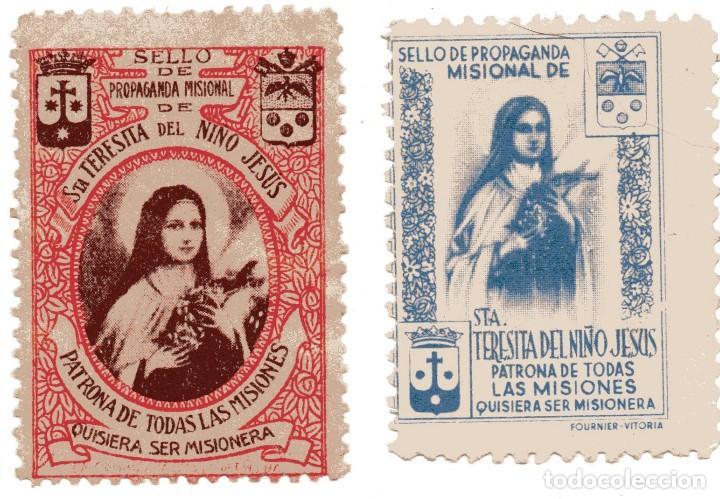 S29 LOTE 2 VIÑETAS MISIONES RELIGIOSAS SANTA TERESITA DEL NIÑO JESUS (Sellos - Temáticas - Religión)