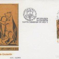 Sellos: EDIFIL Nº 3817.MILENARIO DEL NACIMIENTO DE SANTO DOMINGO DE SILOS PRIMER DIA 4-10-2001. Lote 192359283