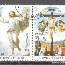 Sellos: SANTO TOMÉ Y PRÍNCIPE Nº 735/736º PASCUA. PINTURAS DE RAFAEL. SERIE COMPLETA. Lote 194630260